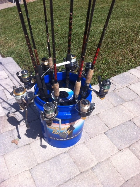 Bucket buddy fishing rod organizer always an adventure for Ice fishing bucket